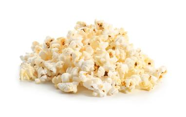 Pile of popcorn on white background