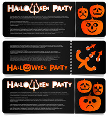 Flyer invitation to celebrate Halloween. Horizontal arrangement. A party in a club, a cafe or a festival. Orange and black colors.