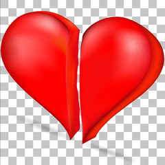 The image of the heart is divided into two halves on a transparent background
