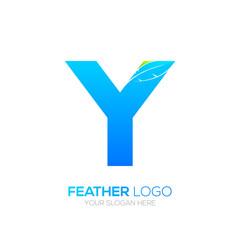 Letter Y with Feather logo, Fountain pen, Law, Legal, Lawyer, Copywriter, Writer logotype for your Corporate identity