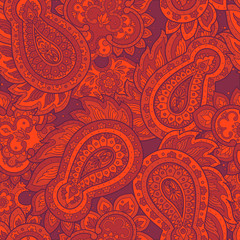 Paisley Floral oriental ethnic Pattern. Seamless Arabic Ornament. Ornamental motifs of the Indian fabric patterns.