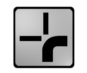 Deutsches Verkehrszeichen: abknickende Vorfahrt rechts