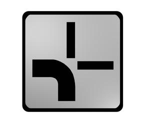 Deutsches Verkehrszeichen: abknickende Vorfahrt, links