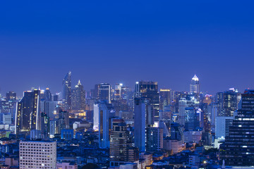 Bangkok urban skyline aerial view at night.