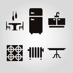 Kitchen furniture and accessories isolated flat vector icon set
