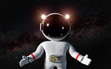cartoon astronaut character in white space suit floating in zero gravity space
