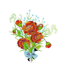 Bouquet with red  poppies