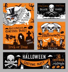 Halloween witch skull pumpkin night vector poster