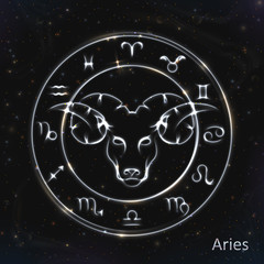 Aries Silver vector zodiac sign with neon brushes