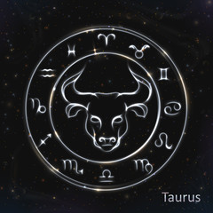 Taurus Silver vector zodiac sign with neon brushes