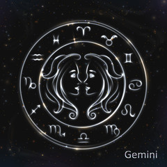Gemini Silver vector zodiac sign with neon brushes