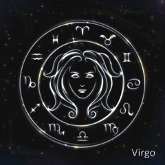 Virgo Silver vector zodiac sign with neon brushes