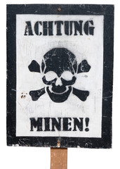 Vintage German Warning Sign on a White Background
