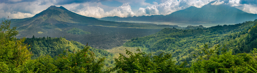 View of Mt Batur and Mt Anung volcanoes, Bali Indonesia