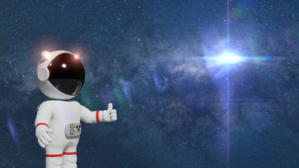 3d cartoon astronaut character giving a  thumbs up to an empty space in front of stars and the Sun