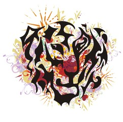 Tribal tiger mascot in grunge style. Flaming tiger head closeup with red hearts inside, arrows, asterisks and colorful splashes