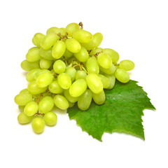 Fresh green grapes branch isolated on white background. Creative concept of fruit, butterfly shape. Flat lay, top view