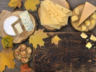 Cheese on a wooden board.