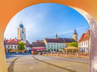 Wall Mural - Historical center of Sibiu town at sunset time, Transylvania, Romania.