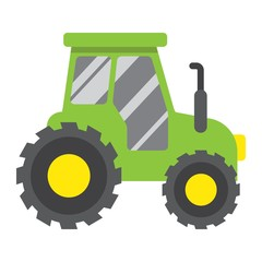 Tractor flat icon, transport and vehicle, agriculture sign vector graphics, a colorful solid pattern on a white background, eps 10.