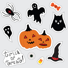 Stickers for Halloween. Pumpkin, spider, Ghost; owl; witch hat; candy; eye; corn
