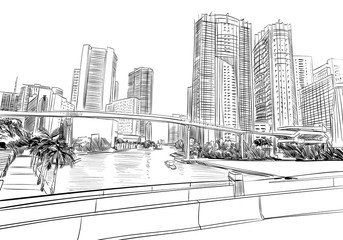 USA. Florida. Miami. Unusual perspective hand drawn sketch. City vector illustration
