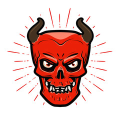 Portrait of angry devil. Halloween, satan, lucifer, hell, devilry symbol. Cartoon vector illustration