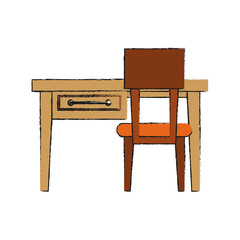 desk with small drawer furniture icon image vector illustration design