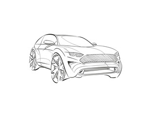 Car concept.Car sketch.Vector hand drawn. Autodesign. Automobile drawing.