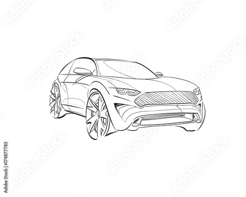Car Conceptcar Sketchvector Hand Drawn Autodesign Automobile