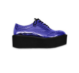 blue metallic shoe side view, isolated on white