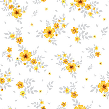 Seamless floral pattern. Background in small yellow flowers on a white background for textiles, fabric, cotton fabric, cover, wallpaper, stamp, gift wrap, postcard, scrapbooking.