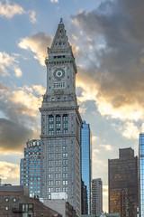 custom house clock tower in Boston Massachusetts in sunset
