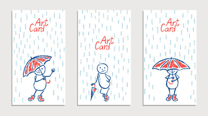 Set of wax crayon like kid`s drawn cards with funny man and umbrella and rain. Vector cartoon pastel chalk or pencil comic characters with autumn rain shower flood. Like child`s painting background.