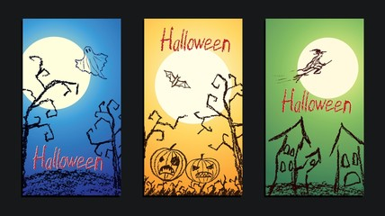 Set of vector crayon drawn happy halloween day background banner with hand drawing spooky naked trees, moon, old house, witch, ghost, bat and pumpkin. Chalk pastel or pencil design invitation card.