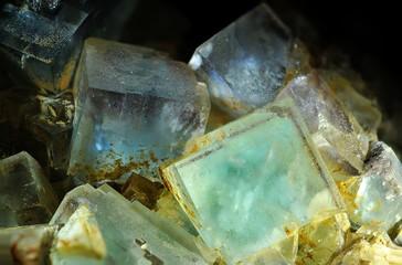 Hellgrüne Würfel-Kristalle des Minerals Fluorits, CaF2, aus der Reinerzau, Schwarzwald, Deutschland