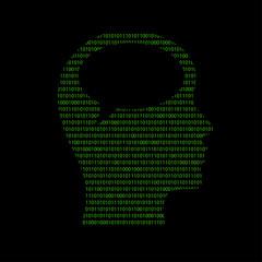 Hacker - 101011010 Icon - Kopf mit Sprechblase - Gedanken