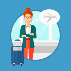 Woman frightened by future flight. Woman standing at the airport and suffering from fear of flying. Phobia, fear of flying concept.Vector flat design illustration in the circle isolated on background.