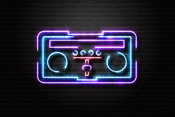 Vector realistic isolated neon sign of Dj console for decoration and covering on the wall background. Concept of night club, music and dj profession.