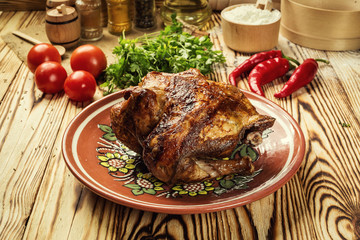 whole roasted chicken,barbecued whole chicken with crispy golden crust skin,Roasted whole chicken / turkey for celebration and holiday. Christmas, thanksgiving, new year's eve dinner,Chicken Tabaka