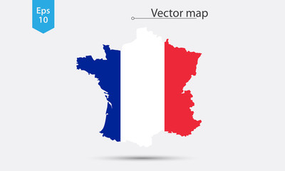 Simple Map Silhouette Of France With Flag. Vector Illustration