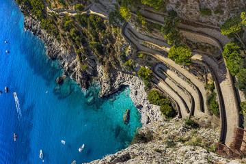 Italy. Capri Island. Via Krupp seen from Gardens of Augustus