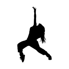 vector isolated silhouette of a dancing girl