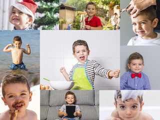 Photo collage of a kid