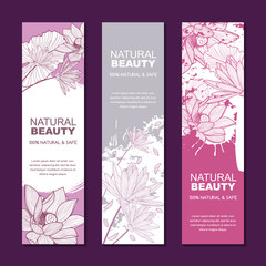 Set of vector backgrounds for label or package. Sketch hand drawn illustration of lotus flowers on watercolor background. Concept for natural herbal cosmetic, asian spa and massage.