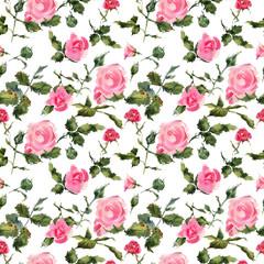 Rose flowers handmade watercolor seamless pattern gentle