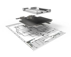 Sheet metal design  / 3D render representing sheet metal design