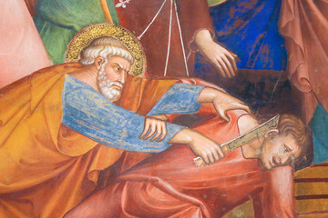 Fresco in San Gimignano - Saint Peter and Malchus