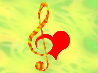 Treble clef and heart on the color background