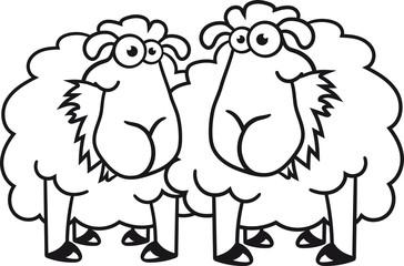 team paar 2 freunde gras fressen hunger grinsen stehend glücklich lustig klein süß niedlich comic cartoon schaf ziege wolle bauer bock cool